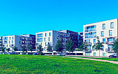 Park at new residential buildings with outdoor facilities Vilnius reflex