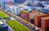Aerial view to modern apartment residential building architecture Potsdamer Platz reflex