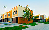 Residential Apartment townhouses facade architecture with outdoor facilities reflex