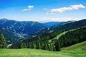Panoramic view of mountain and blue sky in Bad Kleinkirchheim in Austria