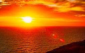 Sunrise or sunset on Cagliari in Sardinia reflex