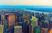 Aerial view of Midtown Manhattan and Central Park reflex