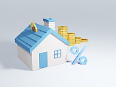 Real estate or property investment. 3D of coin stack with house. Home loan, Reverse mortgage or transforming assets into cash concept. House Loan, Rent and Mortgage Concept.