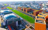 Aerial view of modern apartment residential building architecture Potsdamer Platz reflex