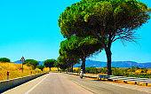 Motorcycle at the road of Costa Smeralda in Sardinia