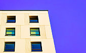 Residential apartment home facade and empty place for copy space reflex