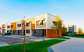 Apartment residential town houses architecture with outdoor facilities reflex