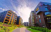 Modern architecture of residential buildings quarter reflex