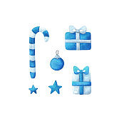 Gift, candy, bow, star, Christmas ball blue. Festive elements for decoration. Drawings for Christmas and new year. Watercolor clipart isolated on a white background. Stock image