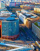 Aerial view on modern building architecture and road Potsdamer Platz reflex