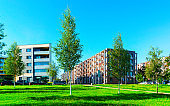 Park at new apartment residential buildings with outdoor facilities Vilnius reflex