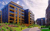 Modern architecture of residential building quarter reflex