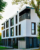 Modern residential house complex with outdoor facility reflex