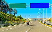 Motorbike on road in Switzerland