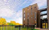 Modern architecture of garage at apartment building reflex