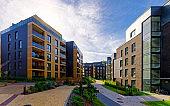 Modern european complex of apartment buildings reflex