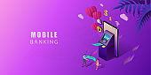 Online Banking for banner and website. Isometric mobile phone and internet banking. Digital technology transfer pay. Online payment security transaction. Vector illustration.