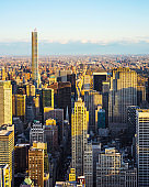 Aerial view to Midtown Manhattan and Central Park NYC reflex
