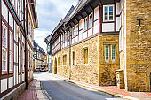 View on timbered houses and cobbled street in the historic old town of Goslar, Germany