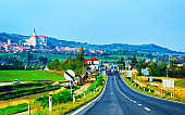 Road view with Mikulov Castle in South Moravia
