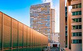 Modern residential apartment flat building exterior in Vienna reflex