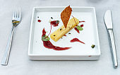 Dessert Cheese with marmalade jam on white plate