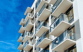 White color Apartment house home residential building complex real estate reflex