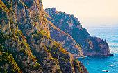 Capri Island and Blue Mediterranean Sea near Naples Italy reflex