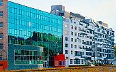 Modern apartment residential and flat building exterior Vienna reflex