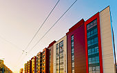 Sunset at Modern residential apartment house home real estate outdoor reflex
