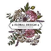 Floral bouquet design with colored roses, anemone, eucalyptus, lavender, peony, viburnum