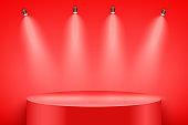 Red Presentation podium with light