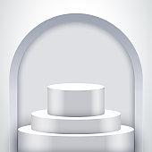 White Presentation podium with arch