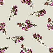 Seamless pattern with hand drawn colored wax flower