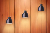 Wooden wall with vintage lamps