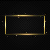 Golden frame with lights effects. Shining rectangle banner. Isolated on black transparent background. Vector illustration, eps 10