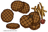 Vector set of hand drawn colored grilled burger patties