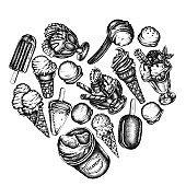 Heart design with black and white ice cream bowls, ice cream bucket, popsicle ice cream, ice cream cones, ice cream scoop, ice cream balls