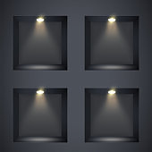 Black wall niches with spotlight