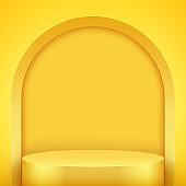 Yellow Presentation podium with arch