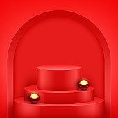 Red Presentation podium with gold balls