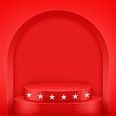 Red Presentation podium with arch