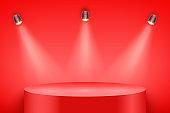 Red Presentation podium