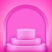Pink Presentation podium with arch