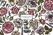 Floral design with colored roses, anemone, eucalyptus, lavender, peony, viburnum