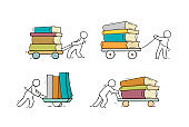 Set sketch of people with books stacks.