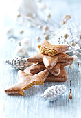 Christmas gingerbread cookies on wooden background. Close up.