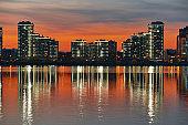 Kazan city at evening color sunset, Tatarstan, Russia