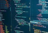Program code Javascript, PHP, HTML, CSS of site. Web development. Programmer workflow. Source code script