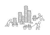 Vector financial growth concept with stacks of golden coins